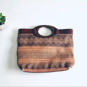 Fossil Wooden Handle Woven Boho Satchel Purse